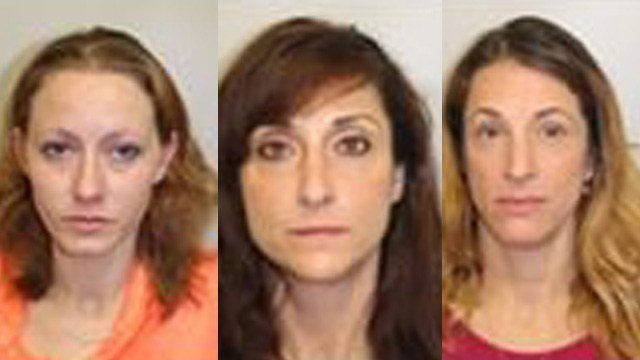 Tamar Creel, Nicole Laflamme and Valerie Marco face charges after a prostitution bust in Newington. (Newington police)