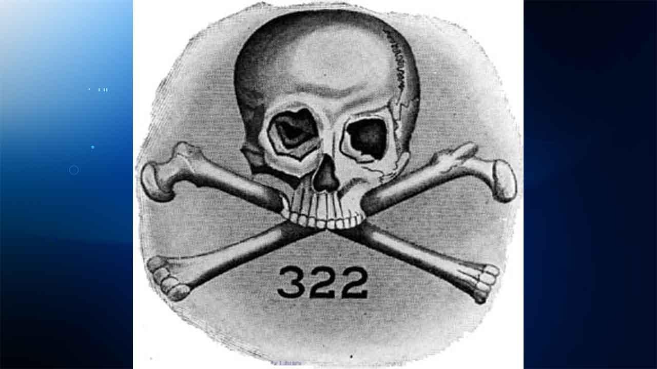 The logo for Skull and Bones, a secret society at Yale University. (Wikimedia)