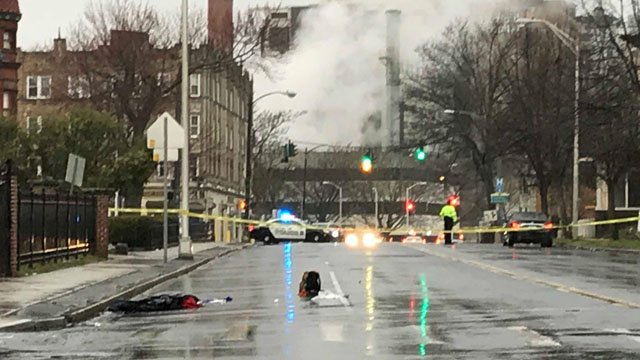A pedestrian was struck on Wyllys Street in Hartford on Thursday morning. (WFSB)