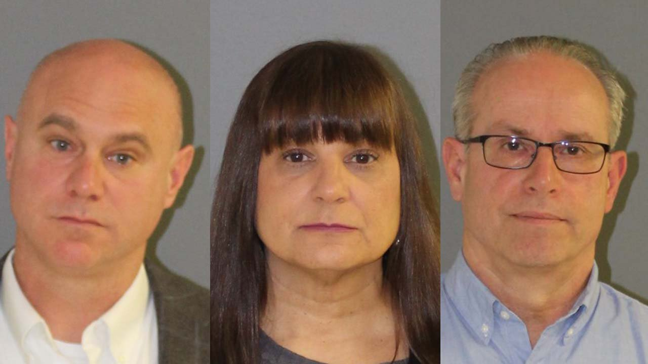Superintendent Brian Levesque, assistant principal Tatiana Patten and principal Jeffrey Theodoss were arrested in for not reporting a fight club in Montville High School. (State police)