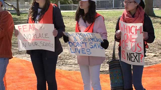 Students in Madison held a rally on Friday morning calling for action when it comes to gun violence (WFSB)