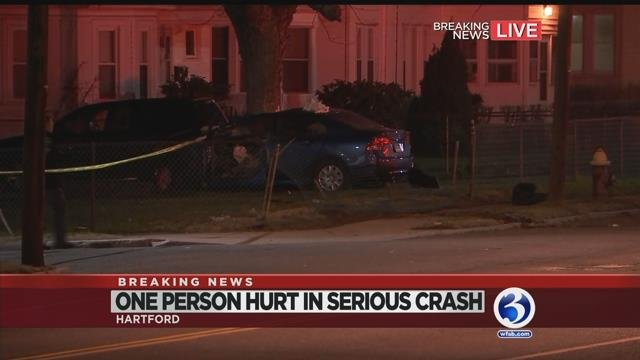 One injured after car strikes tree in Hartford