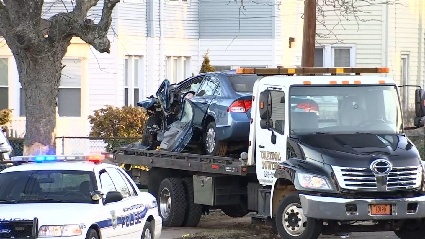 One person was seriously hurt in a crash on Blue Hills Avenue in Hartford overnight. (WFSB)