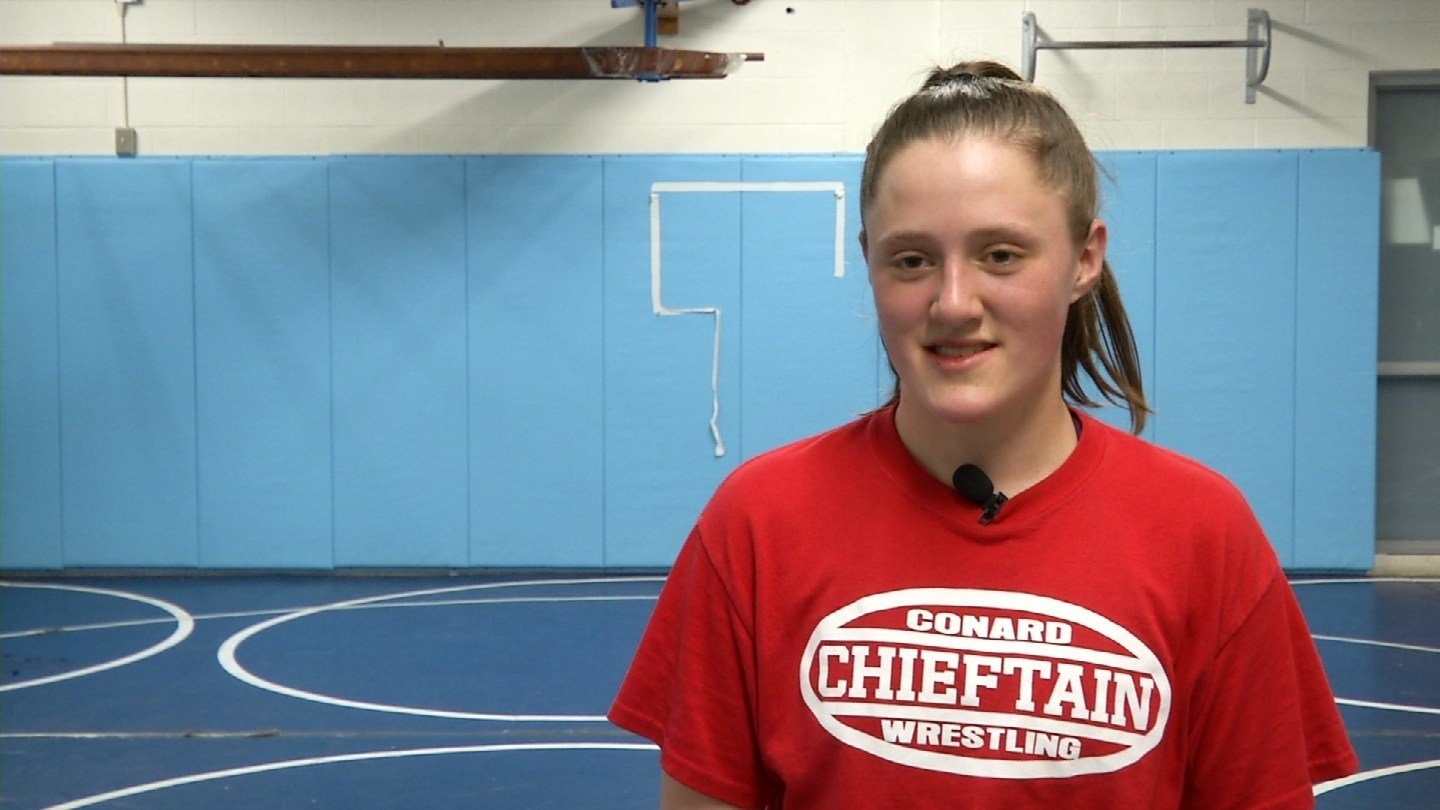 Freshman Emma Alford is the first girl at Conard High School in West Hartford to earn a varsity letter in wrestling. (WFSB)