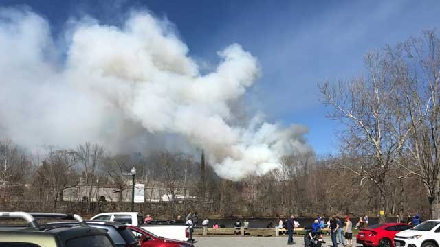 Crews battled a fire at a mill in Baltic on Monday (WFSB)
