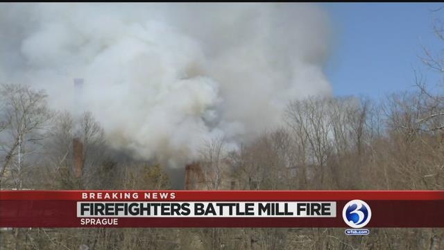 Video: Dozens of crews battle Baltic mill fire