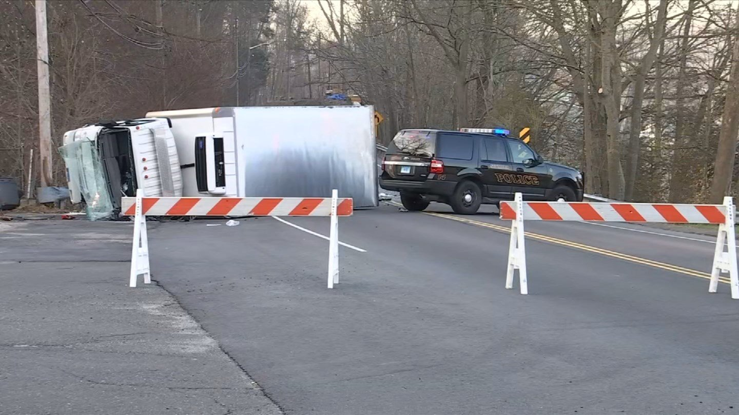 A box truck and another vehicle were involved in a collision on Route 34 in Derby early Tuesday morning. (WFSB)