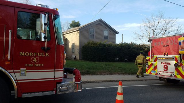 Two people were hospitalized after a fire on Church Street in North Canaan. (@NorfolkPIO1)