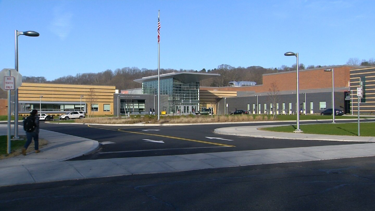 Additional officers were sent to Platt High School in Meriden on Tuesday after a threat referenced a shooting. (WFSB)