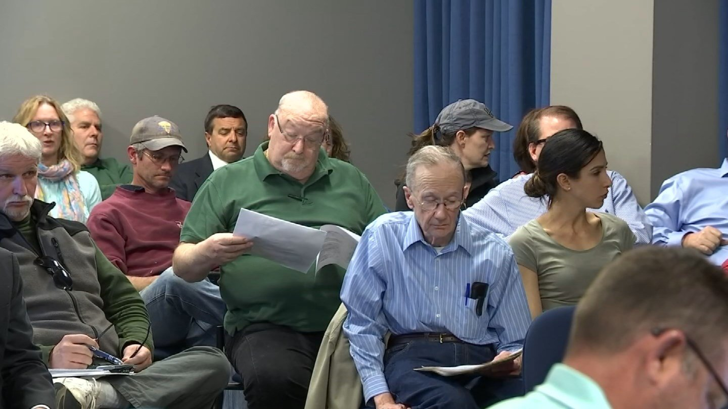 Residents attended a Town Council meeting in Newington regarding a fuel spill behind Town Hall. (WFSB)