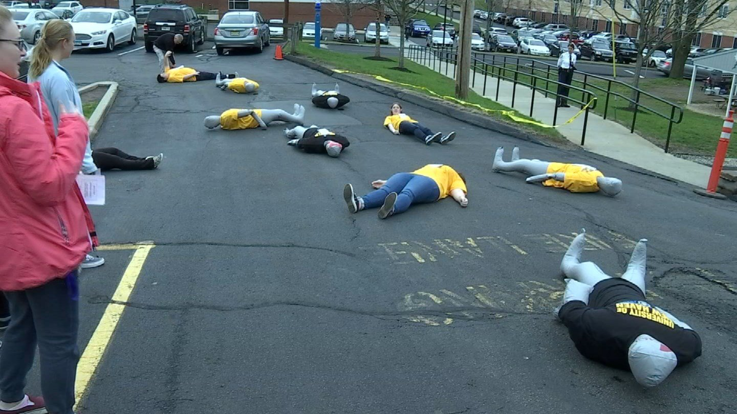 Students at the University of New Haven took part in a mass casualty drill on Thursday. (WFSB)