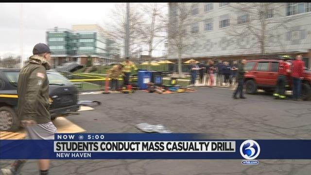 Video: University of New Haven students prepare for the worst with mass casualty drill