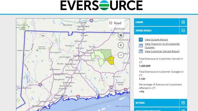 Hundreds are without power in the Windham area (Eversource.com)