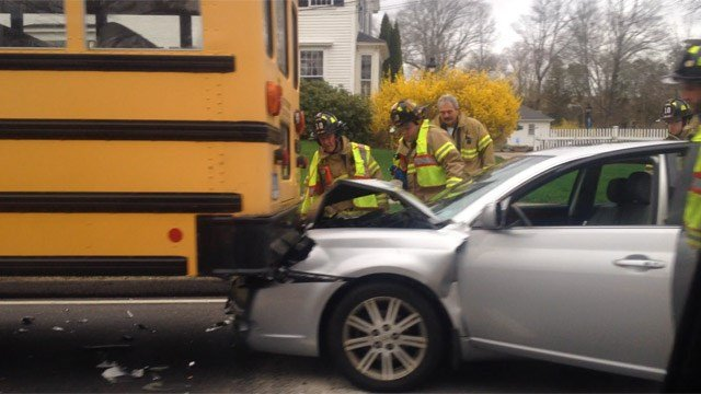 A school bus were and a car were involved in a crash at Routes 66 and 85. (iWitness)