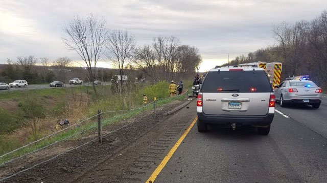 A two-car crash snarled traffic near exit 20 on I-91 north in Middletown. (State police)