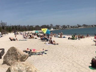 Crowds showed up at Rocky Neck beach on Wednesday during the warm weather (WFSB)