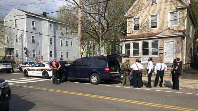 Police were seen on Winchester Avenue (WFSB)