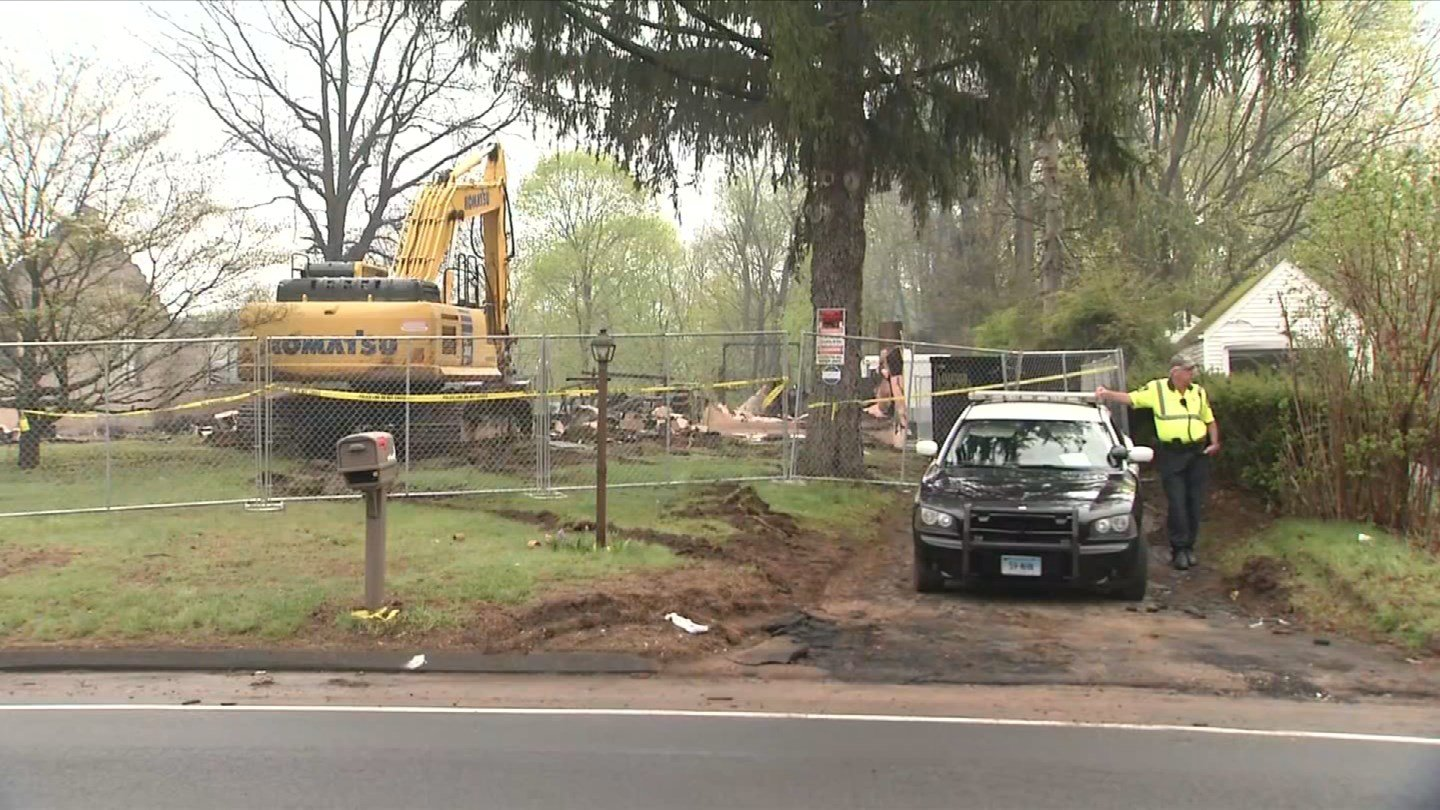 Demolition crews were on the scene two days after a barn explosion on Quinnipiac Avenue in North Haven. (WFSB)