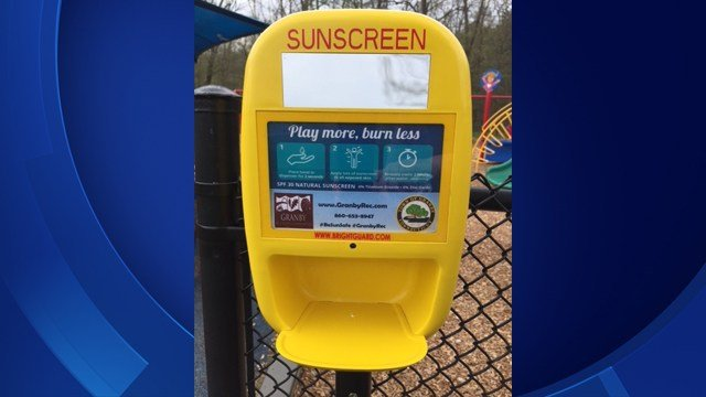 These sunscreen dispensers were installed in Salmon Brook Park in Granby (Granby Recreation Department)