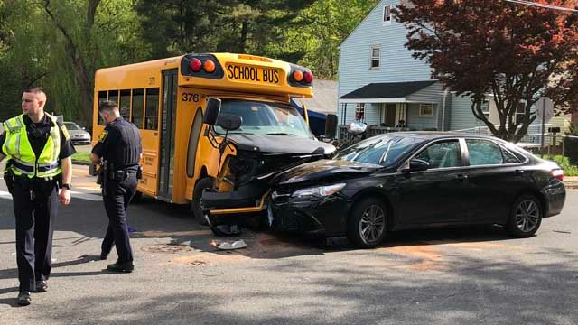 A school bus was involved in a crash in Hartford on Monday (WFSB)