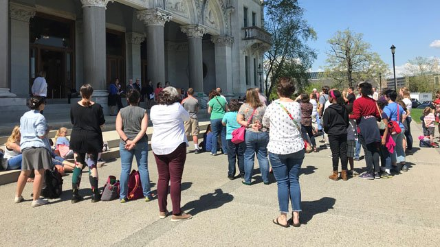 Homeschool groups rallied at the capitol against a report by the Child Advocate. (WFSB)