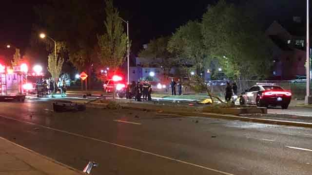 Crews responded to a crash in Hartford Tuesday night (WFSB)