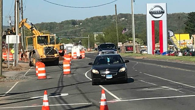 A portion of Route 6 in Bristol was briefly closed on Wednesday for a gas leak. (WFSB)