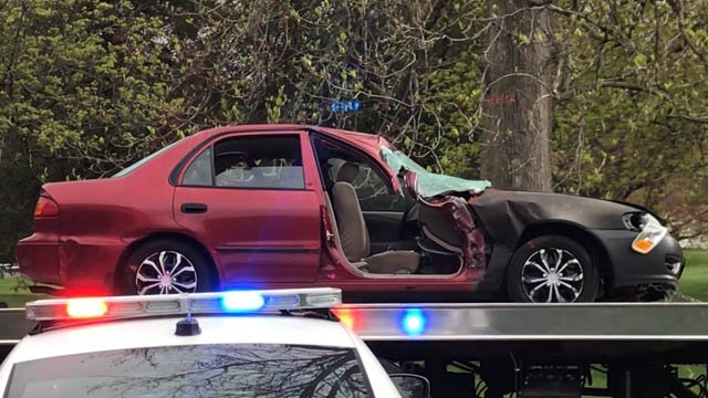 One of the two vehicles police say was involved in a deadly crash near East Rock Park in New Haven. (WFSB)