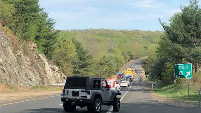 A two-car crash has closed Route 9 south in Haddam (WFSB)