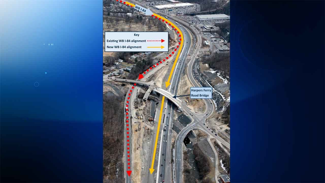 The I-84 westbound shift is scheduled for 9:30 p.m. on Sunday. (widening.i-84waterbury.com)