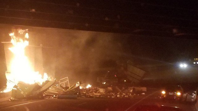 A fiery tractor trailer crash closed Interstate 84 Westbound in East Hartford (WFSB)
