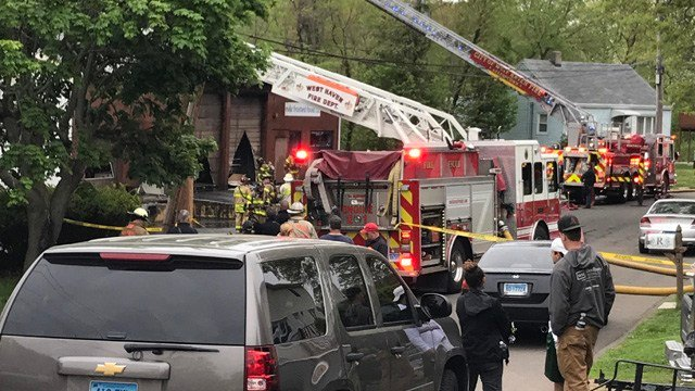 Fire crews on scene at Peabody Street in West Haven (WFSB)