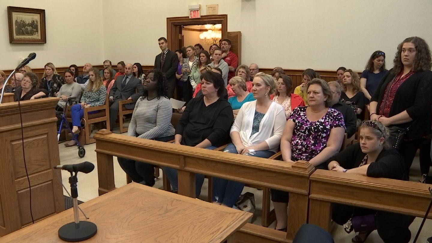 Parents and taxpayers filed into a meeting Monday night in Ansonia. (WFSB)