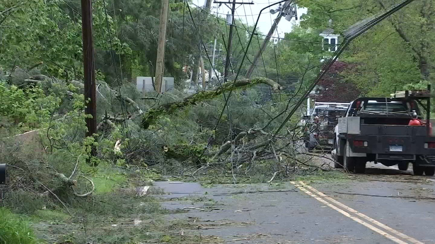 Storm-related damage that was recorded in Brookfield. (WFSB)