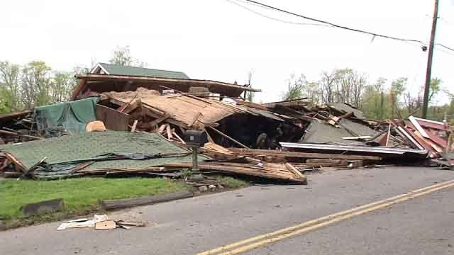 A barn built in the 1800s was taken down by the strong storms on Tuesday (WFSB)