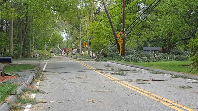 Woodhouse Avenue in Wallingford had debris strewn all over the road as of Wednesday night. (Lynne/iWitness)