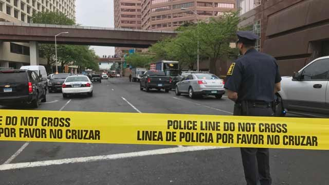 A female officer was stabbed in the neck after responding to an incident at Constitution Plaza in Hartford. (WFSB)