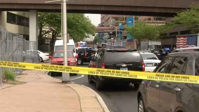 A Hartford officer was stabbed Thursday morning while making an arrest (WFSB)
