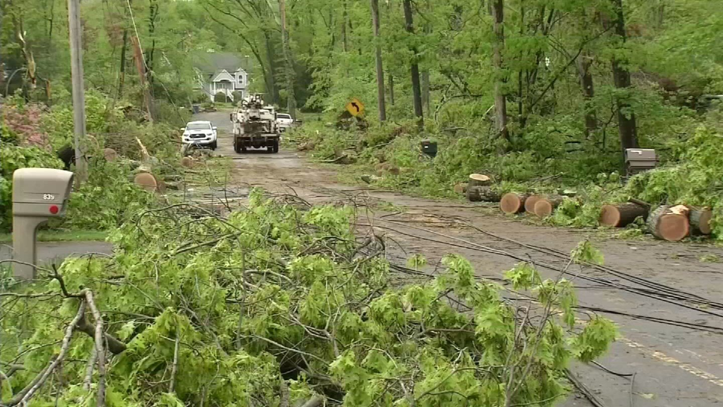 A number of roads in Hamden remained blocked by storm debris on Friday. (WFSB)