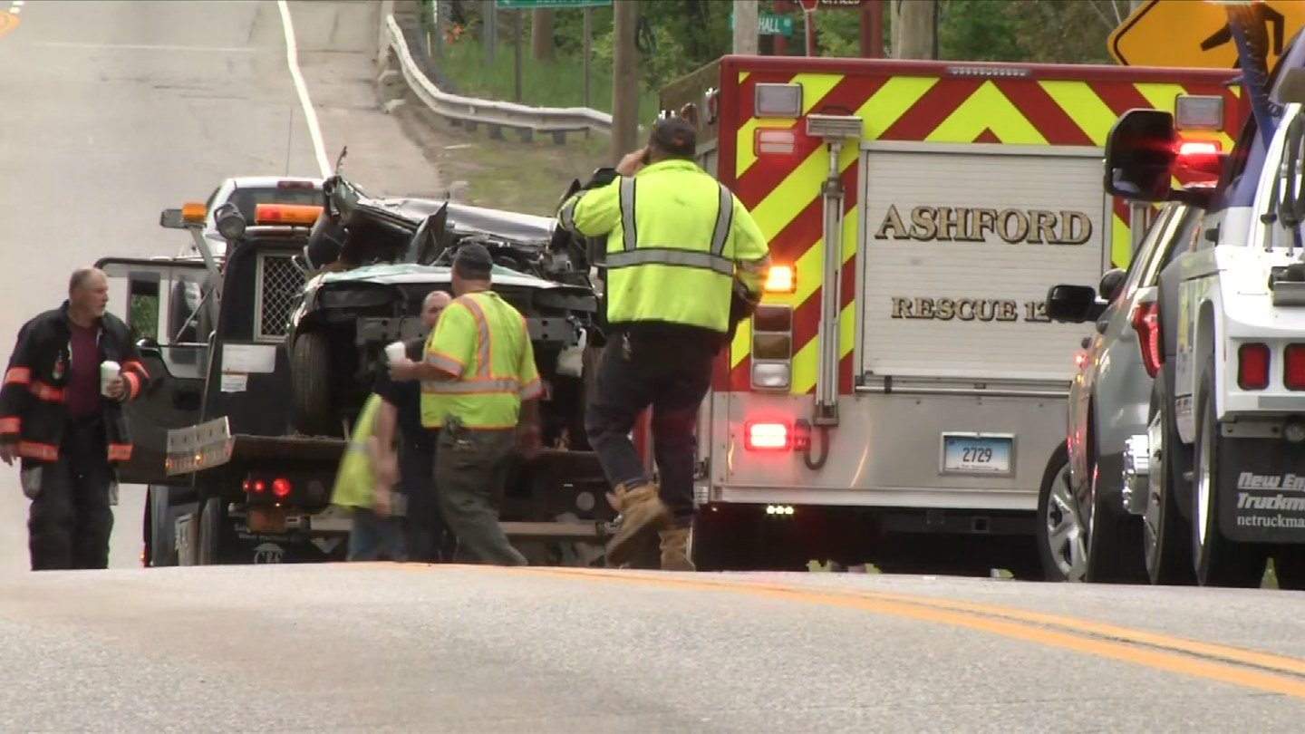 Route 44 was closed in Ashford because of a 3-vehicle crash on Friday. (WFSB)