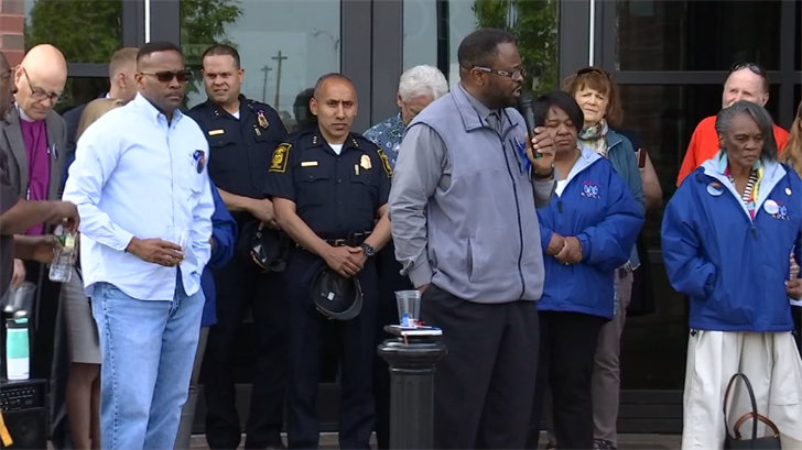 A vigil was held in Hartford on Friday in support of an officer that was stabbed (WFSB)