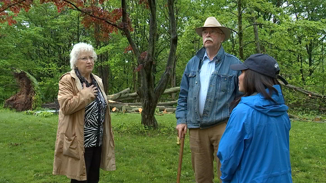 Hamden residents, Heidi and Tom Buchan's front yard is littered with all size branches and tree trunks. (WFSB)