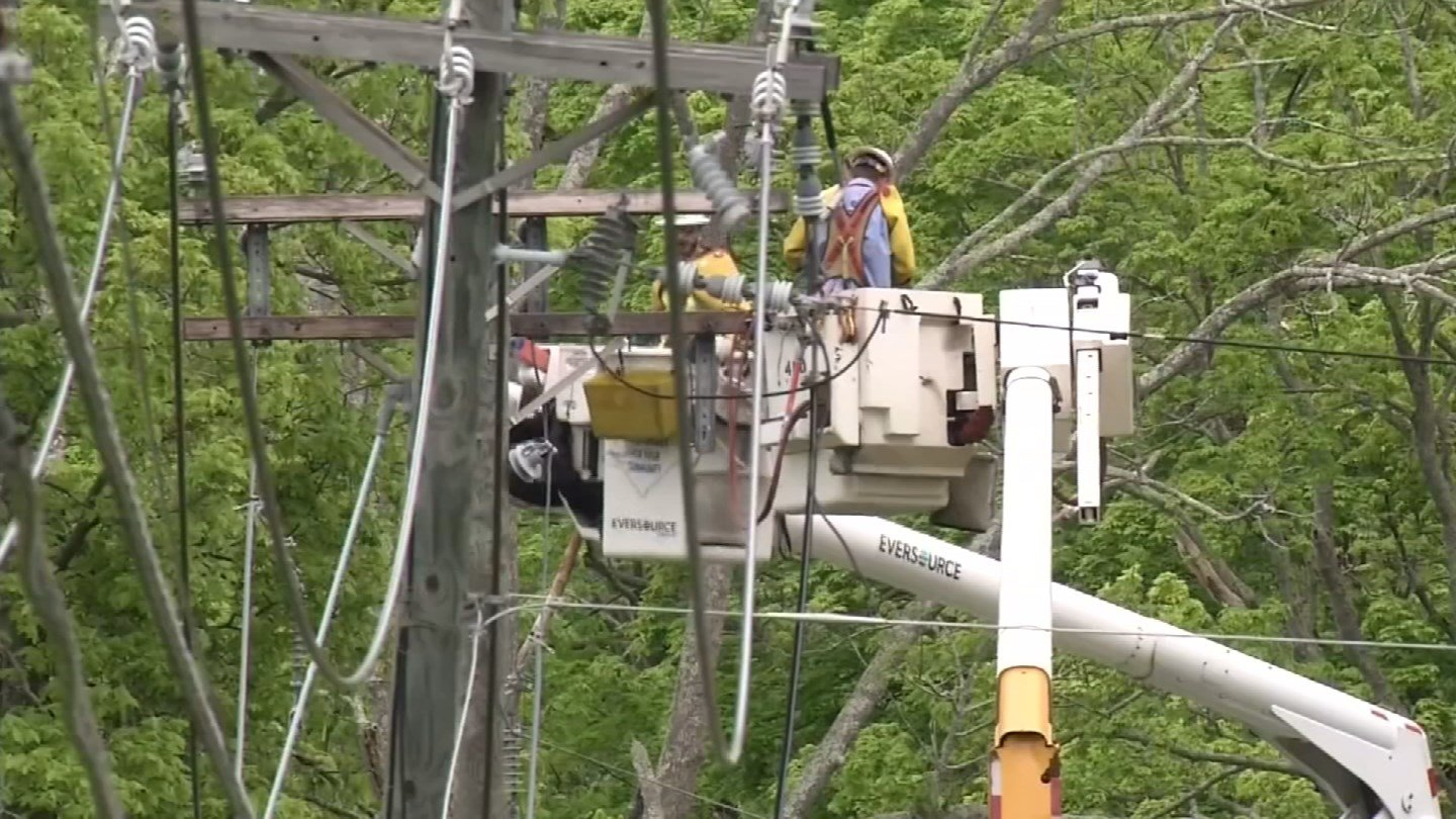 Nine percent of Oxford remained without power on Monday. (WFSB)