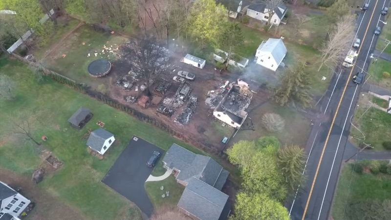 A barn was leveled by an explosion after a standoff situation on Quinnipiac Avenue in North Haven on Wednesday night. (WFSB)