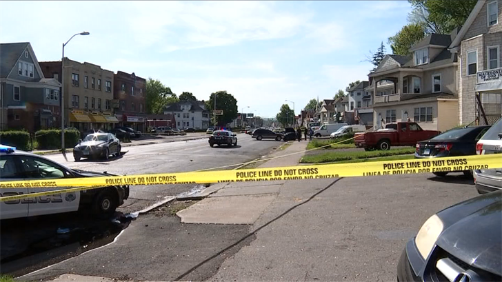 Hartford Police are investigating a shooting and a crash on Albany Avenue (WFSB)