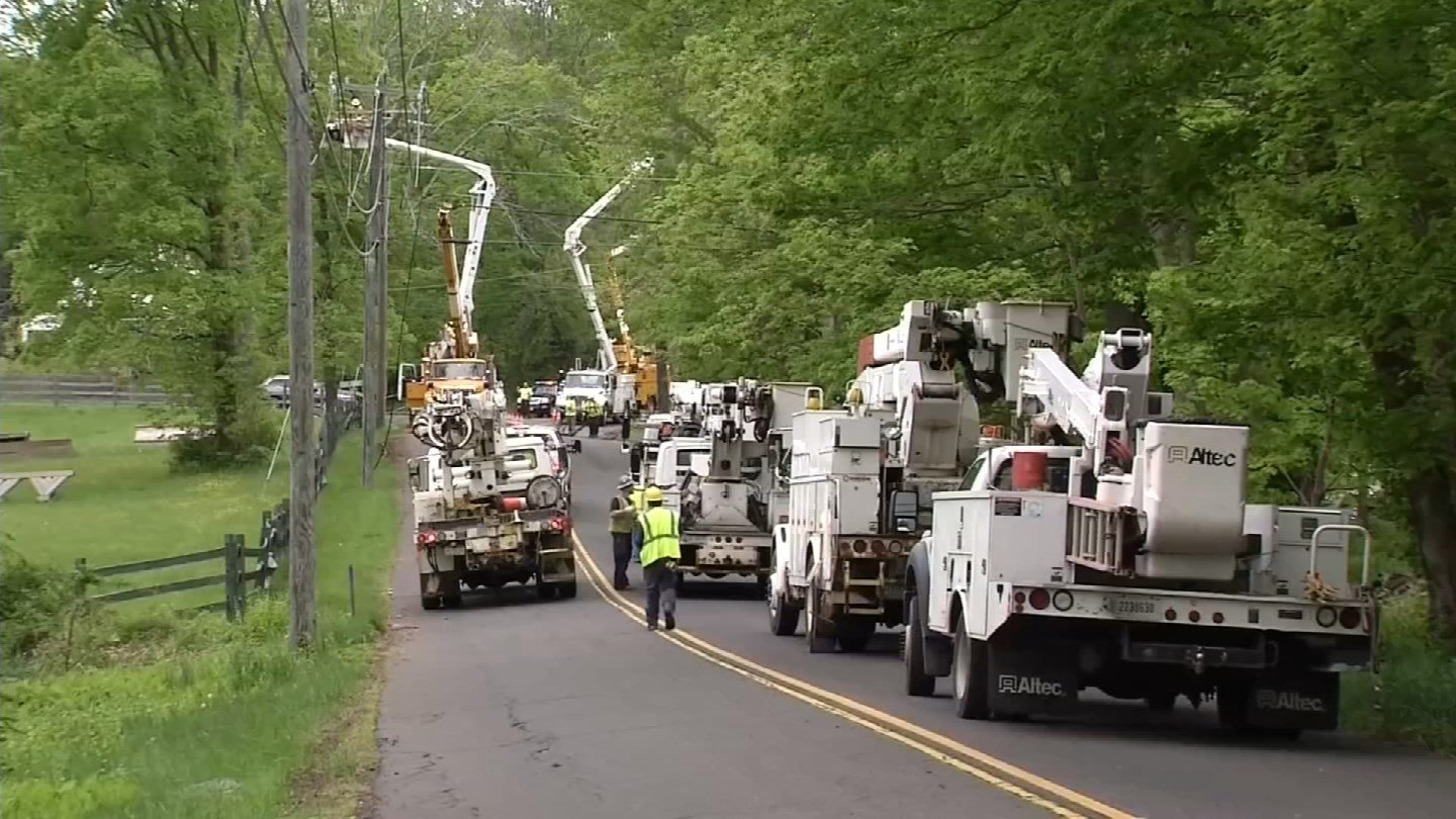 Power crews continue to work to restore service a week after tornadoes touched down. (WFSB)