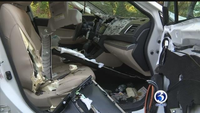 EXCLUSIVE: Bear destroys car in Canton after getting stuck inside