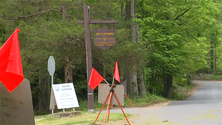 Kettletown State Park remained closed on Tuesday after last week's storms (WFSB)