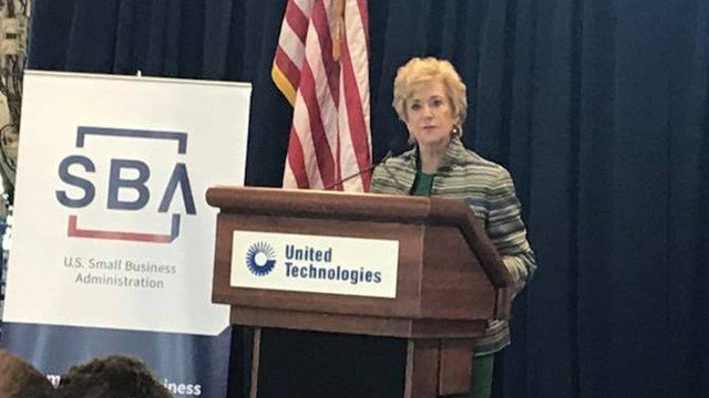 Linda McMahon, SBA administrator, was at an announcement for United Technologies on Wednesday. UTC announced thousands of hirings and billions in investments over the next few years. (WFSB)