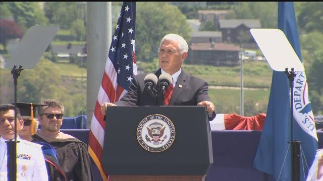 Vice President Mike Pence delivered his commencement speech to Coast Guard cadets around 11:50 a.m. (WFSB)